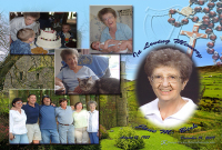 memorial collage with portrait of the deceased and four photos showing her with her family at special times, all on a custom background which blends images of an Irish castle, the green fields of dover an Irish harp and a rosary.
