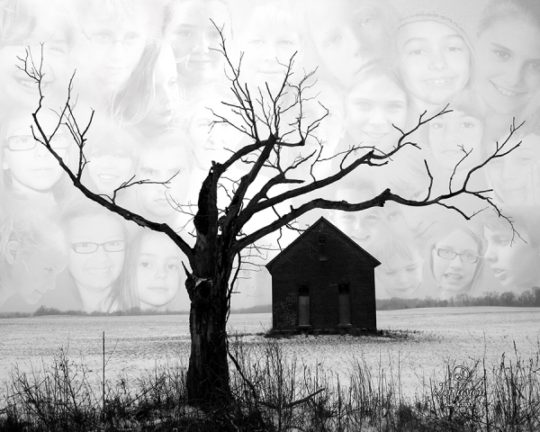 Composite photographic art piece in which the forground has a leafless tree near an old one room school house in a snow covered feild. The sky is made up of the ghosted faces of many children, with one older female face presumably a teacher.