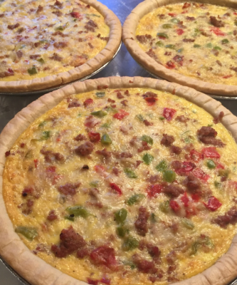 Sausage, Red and Green Pepper Quiche