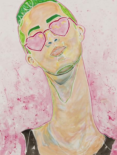 kathrynface, kathryn face, art, artist, contemporary, contemporary art, abstract, abstract art, kathryn mcginley, kathryn mcginley art, longneck, glasses, ink, single line, continuous contour, portrait, figure, gallery, museum, selfie, paint, acrylic, paper, painting, street art