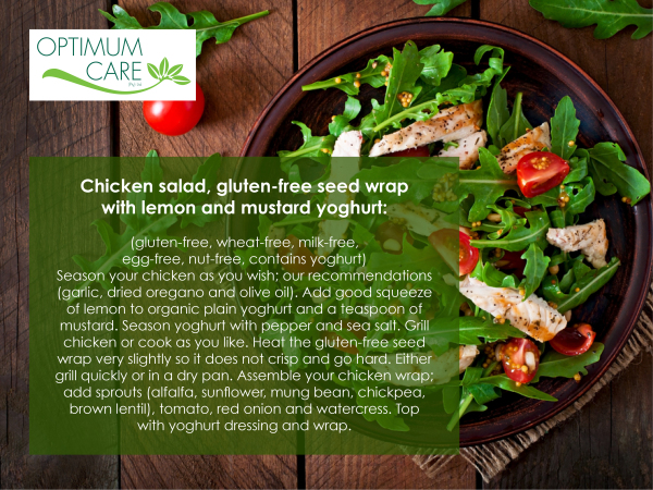 Chicken salad, gluten-free seed wrap with lemon and mustard yoghurt