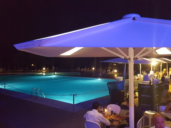poolside back lit patio umbrella