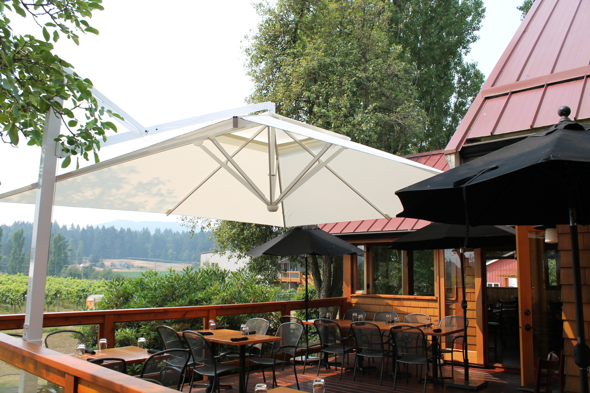patio umbrella for winery patio