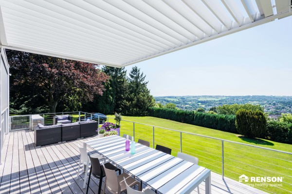 aluminum terrace cover for outdoor dining area