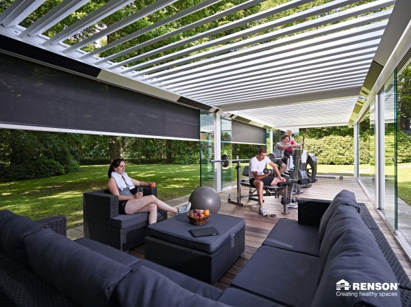 pergola turned into outdoor room with customization options