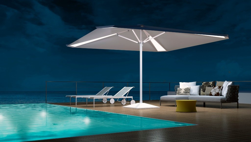 back lit pyramid outdoor umbrella
