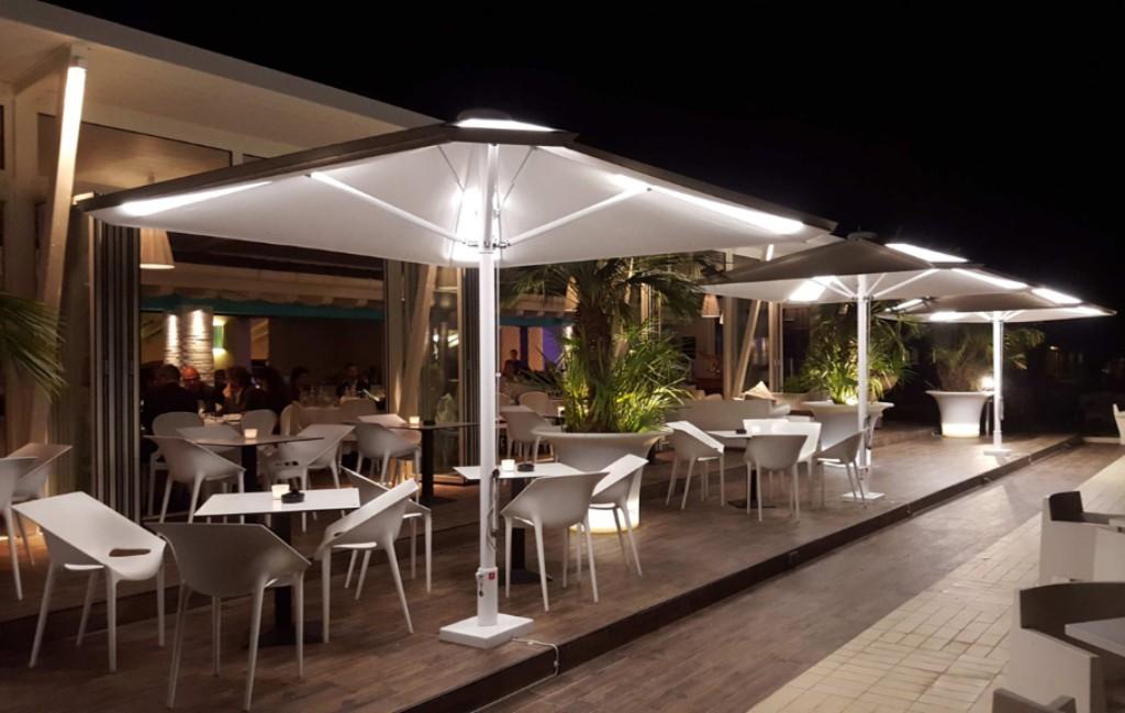 back lit patio umbrella for restaurant