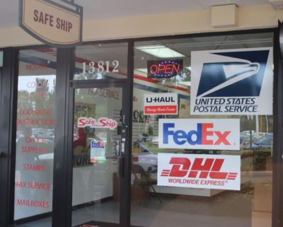 DHL, Fedex, USPS. Post Office, U-haul
