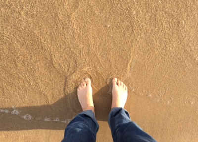 The sea water is cold!