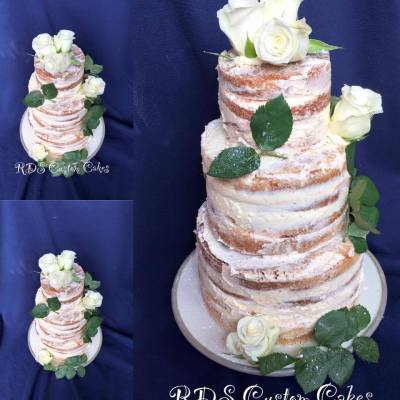Semi naked wedding cake with real flowers