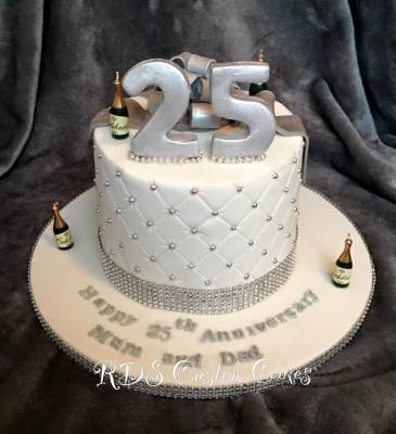 Double height 8 inch quilted anniversary cake