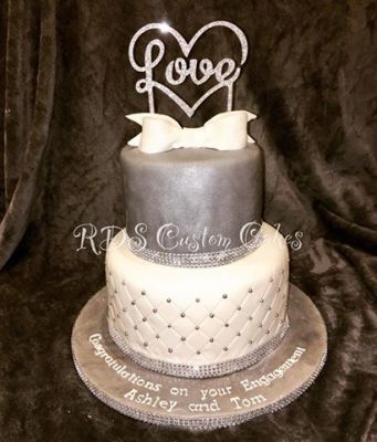Silver sparkle engagement cake