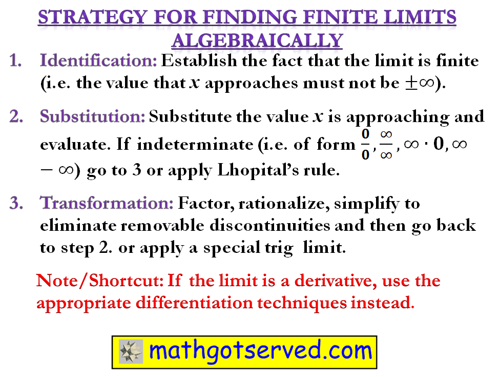 Strategy how to find limits finite infinite  lhopitals