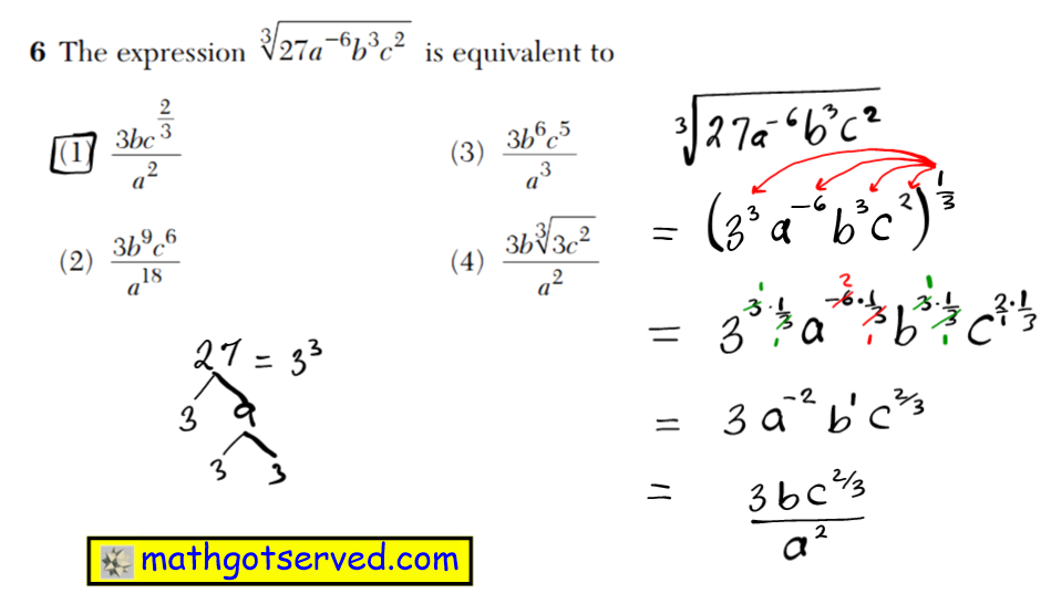 NYS Regents 2016 January algebra 2 Solutions 6 The expression is equivalent to