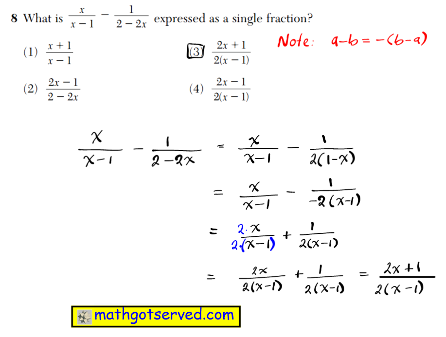 NYS Regents 2016 January algebra 2 Solutions 8 What is expressed as a single fraction? (1) (3) (2) (4) 2 1 2 1 x x 2 ( 2 ) 2 1 2 1 x x 1 ( 2 ) 2 1 2 2 x x 2 2 x x 1 2 1 1 x x2 2 x 2 1 1 2 2 3 3 3 2 2 b c a 3 6 5 3 b c a 3 9 6 18 b c a 3 2 3 2 bc a 3 27 6 3 2 a2 b c Use this space for computations. Algebra