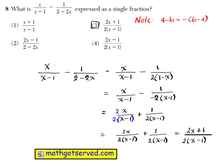 NYS Regents 2016 January algebra 2 Solutions 8 What is expressed as a single fraction? (1) (3) (2) (4) 2 1 2 1 x x 2 ( 2 ) 2 1 2 1 x x 1 ( 2 ) 2 1 2 2 x x 2 2 x x 1 2 1 1 x x2 2 x 2 1 1 2 2 3 3 3 2 2 b c a 3 6 5 3 b c a 3 9 6 18 b c a 3 2 3 2 bc a 3 27 6 3 2 a2 b c Use this space for computations. Algebra