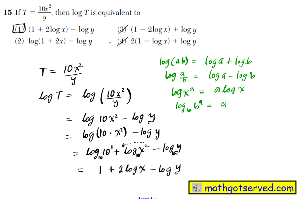 NYS Regents 2016 January algebra 2 Solutions 15 If T  10x2 ____ y , then log T is equivalent to (1) (1   2log x)  log y (3) (1  2log x)   log y (2) log(1   2x)  log y (4) 2(1  log x)   log y
