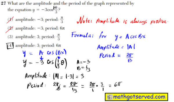 NYS Regents 2016 January algebra 2 Solutions 27 What are the amplitude and the period of the graph represented by the equation y  3cos θ __ 3 ? (1) amplitude: 3; period: π __ 3 (2) amplitude: 3; period: 6π (3) amplitude: 3; period: π __ 3 (4) amplitude: 3; period: 6π