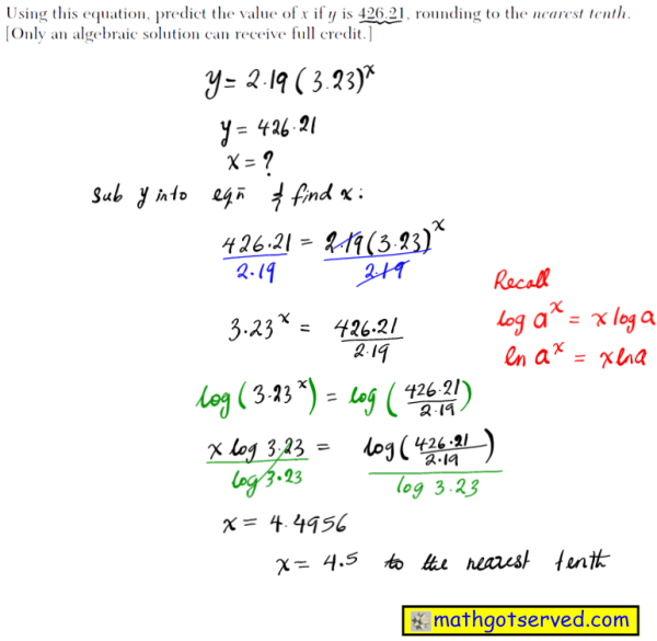 NYS Regents 2016 January algebra 2 Solutions 37 The table below gives the relationship between x and y. Use exponential regression to find an equation for y as a function of x, rounding all values to the nearest hundredth. Using this equation, predict the value of x if y is 426.21, rounding to the nearest tenth. [Only an algebraic solution can receive full credit.]