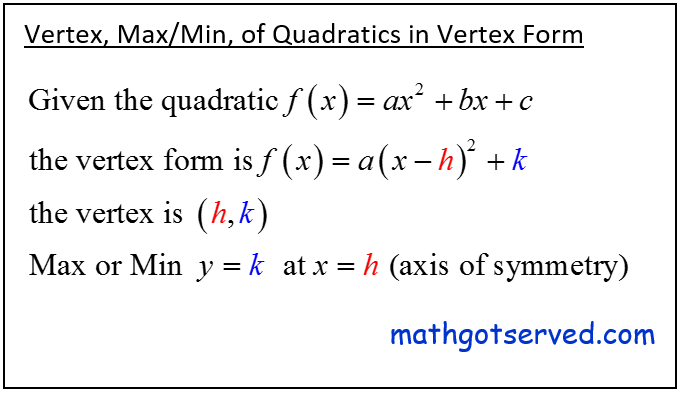 How to find the vertex of a quadratic function in vertex form y=a(x-h)^2+k the vertex is (h,k) maximum or minimum is y=k and the axis of symmetry is x=h