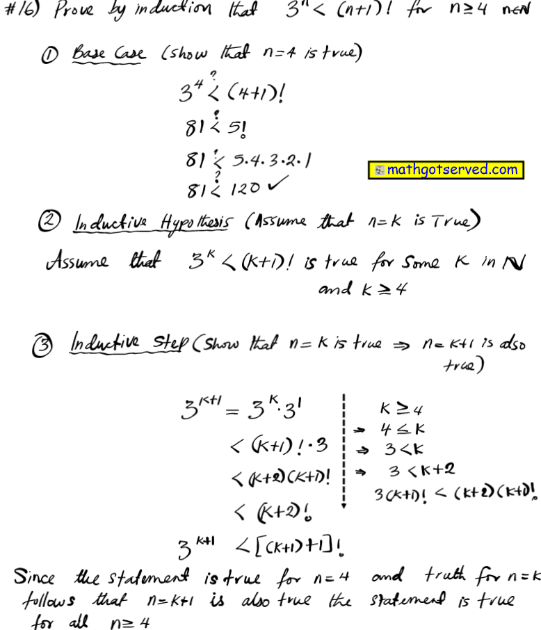 prove by induction that 3^n less  n+1 ! factorial n greater equal 4   for all positive integers n mathematical induction proofs how to base case inductive step hypothesis assume true integer