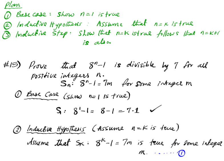 Prove that 8n-1 is divisible by 7 a for all positive integers n mathematical induction proofs how to base case inductive step hypothesis assume true integer
