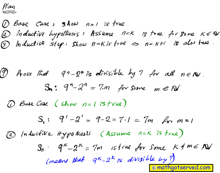 Prove that 9^n-2^n is divisible by 7 a for all positive integers n mathematical induction proofs how to base case inductive step hypothesis assume true integer