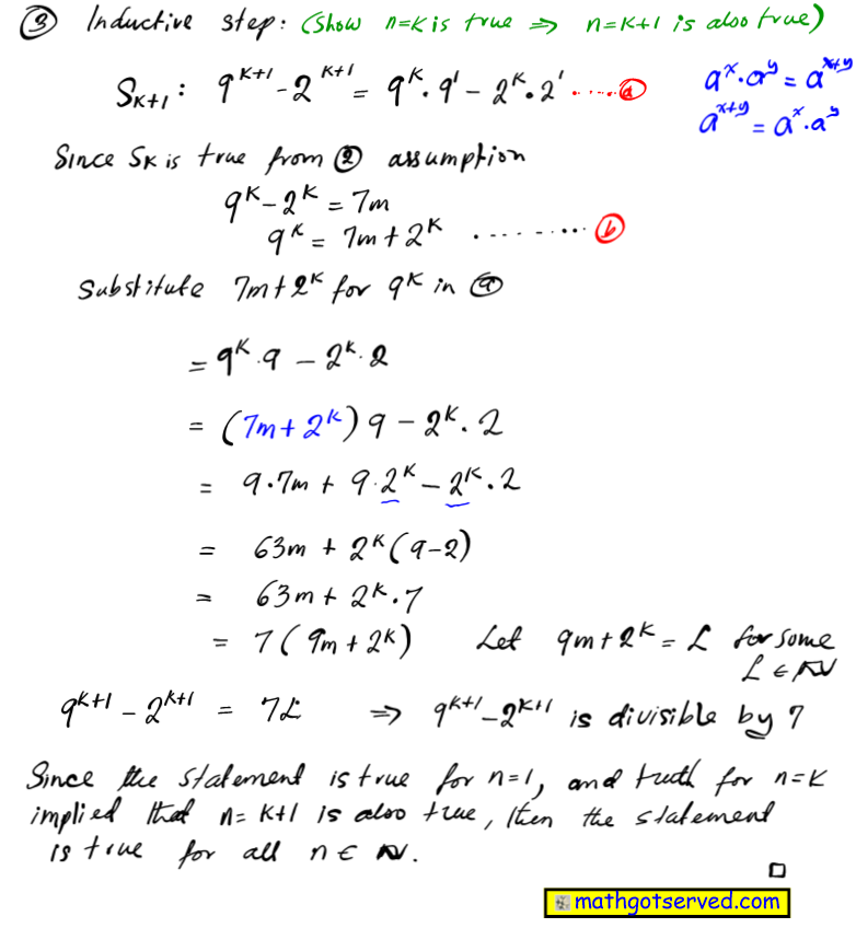Prove that 9^n-2^n is divisible by 7 b  for all positive integers n mathematical induction proofs how to base case inductive step hypothesis assume true integer
