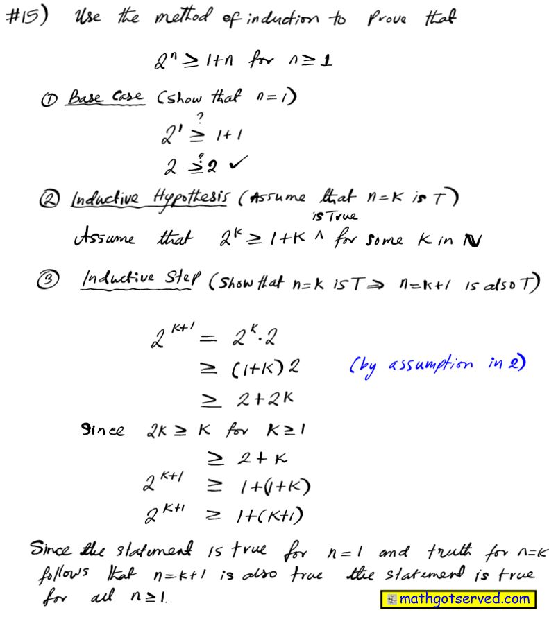 use method of induction prove 2^n greater of equal 1+n   for all positive integers n mathematical induction proofs how to base case inductive step hypothesis assume true integer