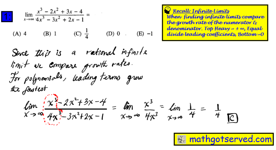 #1 Ap Calculus Multiple Choice Practice Test math exam review tutor online course tutorial limits infinite  x approaches infinity x^3-2x^2+3x-4 4  4 1 0