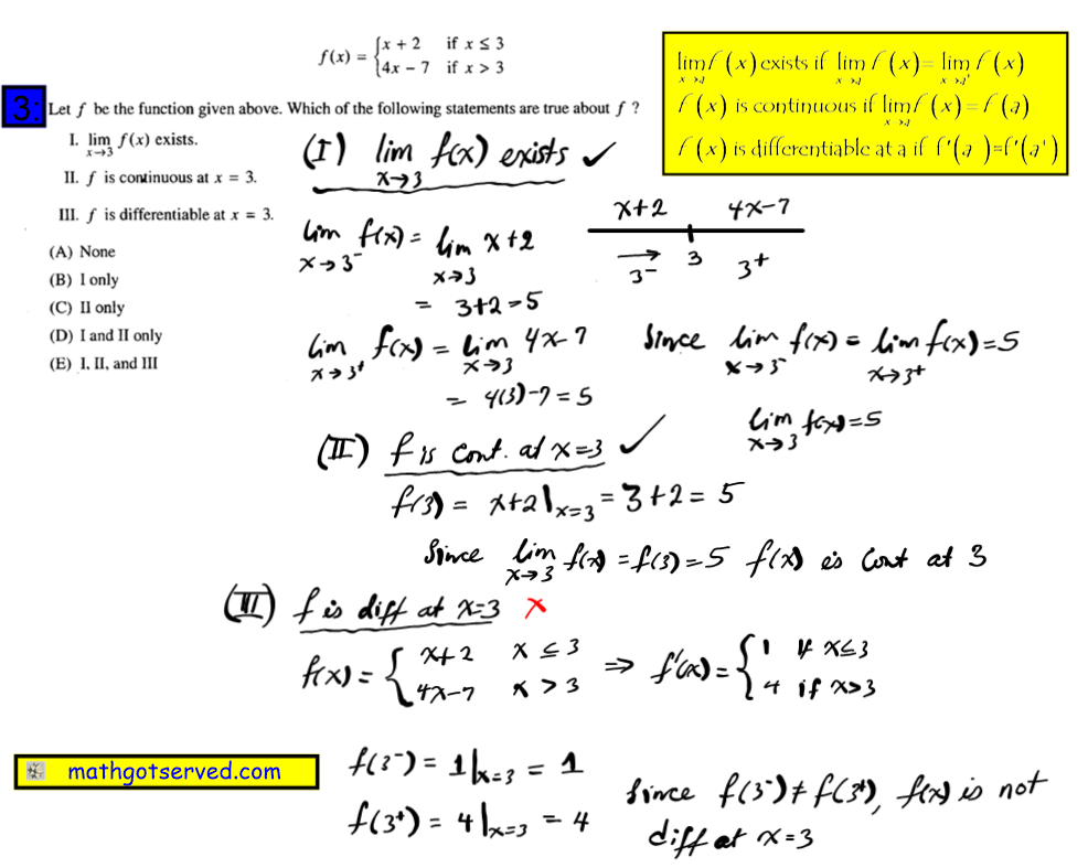 Let f be the function given above which of the following statement are true about f #3 Ap Calculus Multiple Choice Practice Test math exam review tutor online course tutorial limit continuity let f be the given function which statement true