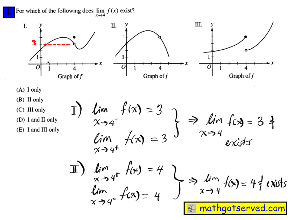 For which of the following does lim x->4 f(x) exists  #4 Ap Calculus Multiple Choice Practice Test math exam review tutor online course tutorial limit continuity for which of the following does lim x 4 exits