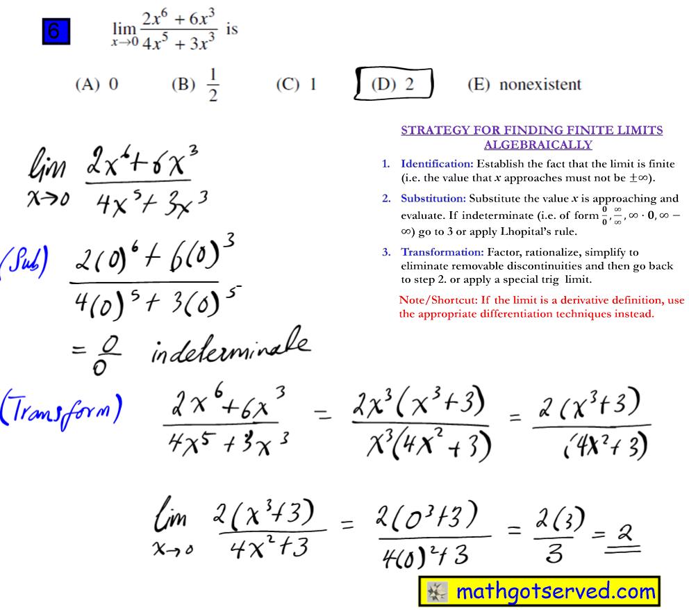 #6 Ap Calculus Multiple Choice Practice Test math exam review tutor online course tutorial limit f is continuous  lim x 0 2x^6+6x^3 4x^5+3x^3 4x^5+3x^3  0 1/2/1/2/ nonexitstent