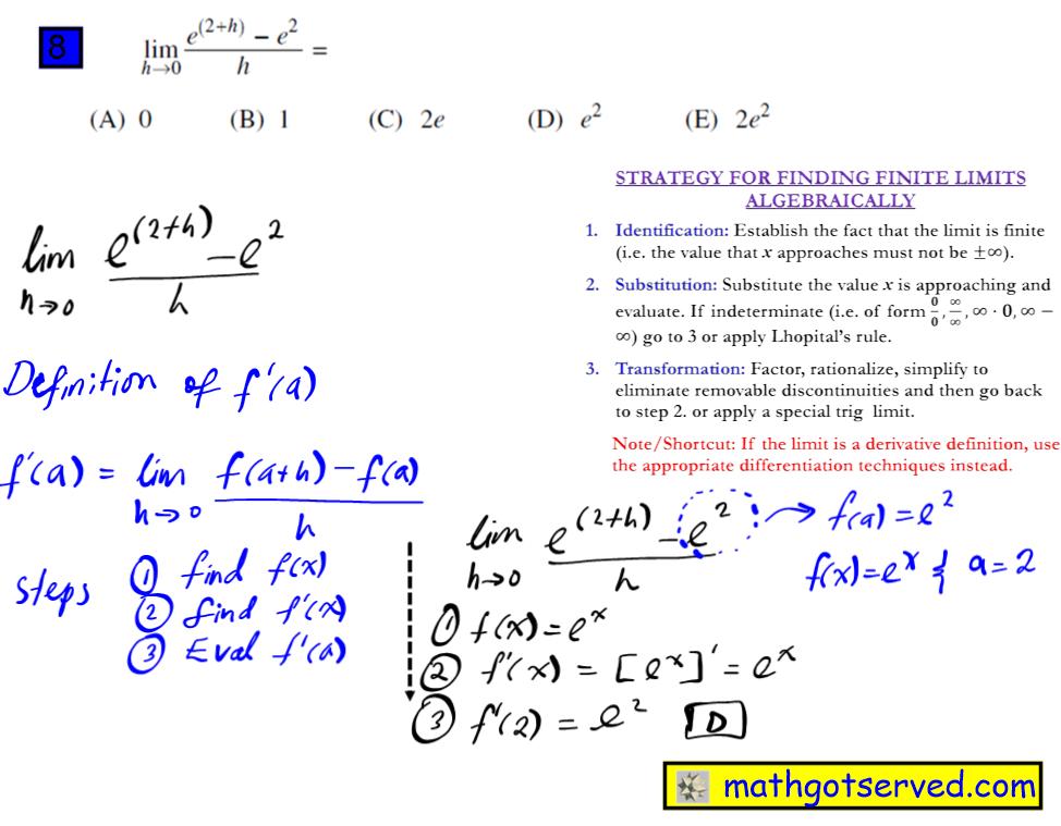 #8 Ap Calculus Multiple Choice Practice Test math exam review tutor online course tutorial limit f is continuous  lim h 0 e^2+h-e^2 h college board ab
