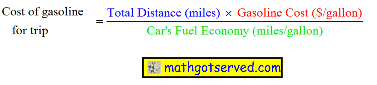 calculate the cost trip calculator mpg gallons miles distance fuel economy efficiency dollars