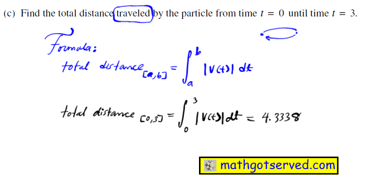 2003 Ap Calc FRQ #2c free response questions calculus ab bc worked out 2 A particle moves along the x-axis so that its velocity at time t is given by v(t)=-(t+1)sin(t 2) (c) Find the total distance traveled by the particle from time  t - O  until time  t - 3.