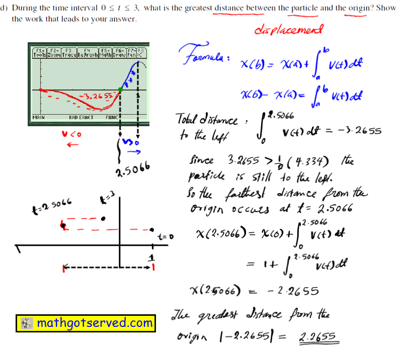 2003 Ap Calc FRQ #2d free response questions calculus ab bc worked out 2 A particle moves along the x-axis so that its velocity at time t is given by v(t)=-(t+1)sin(t 2) (d) During the time interval  O ~ t ~ 3,  what is the greatest distance between the particle and the origin? Show the work that leads to your answer.