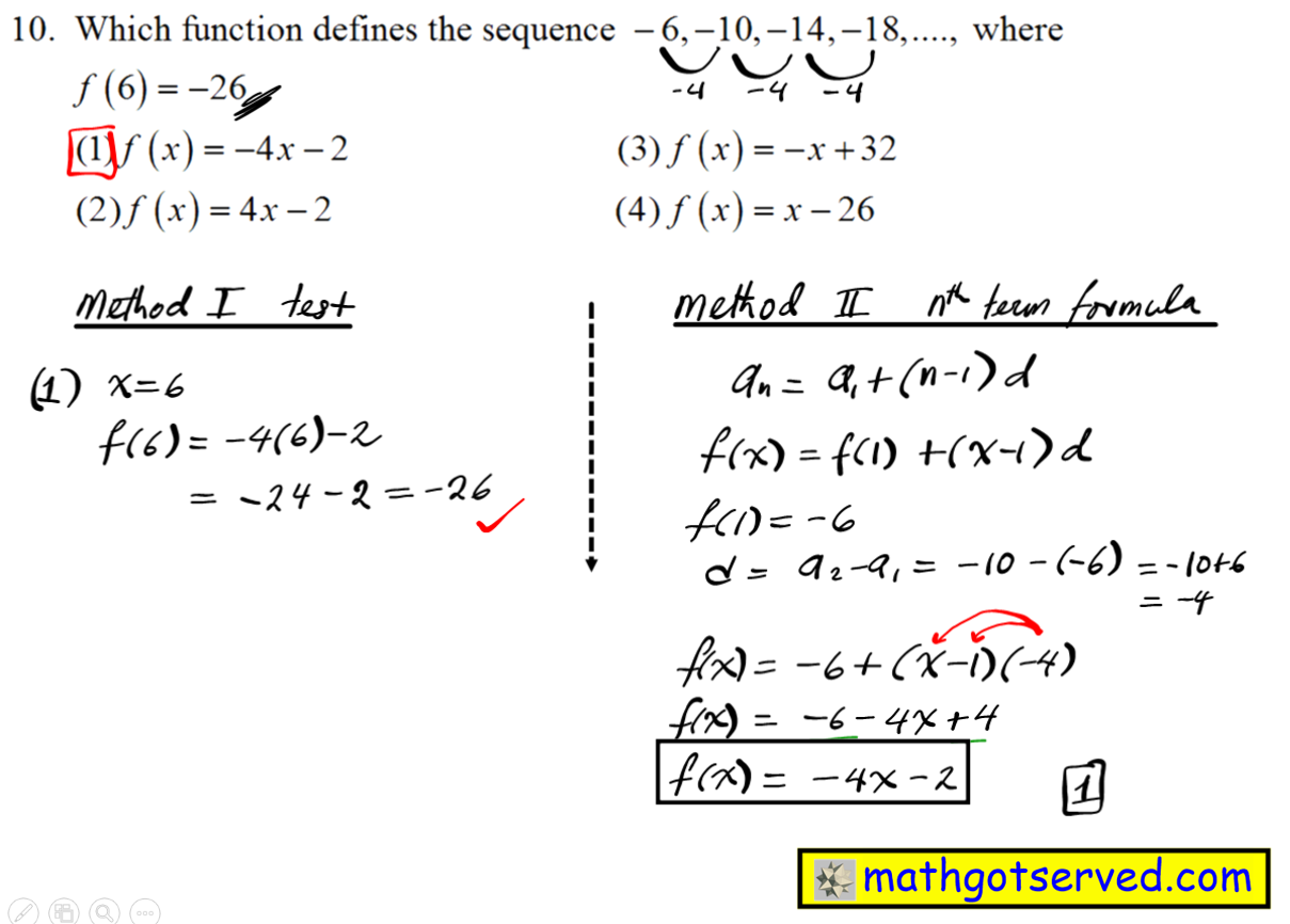 algebra 1 regents NYS New York Common Core August 2016 solutions steps