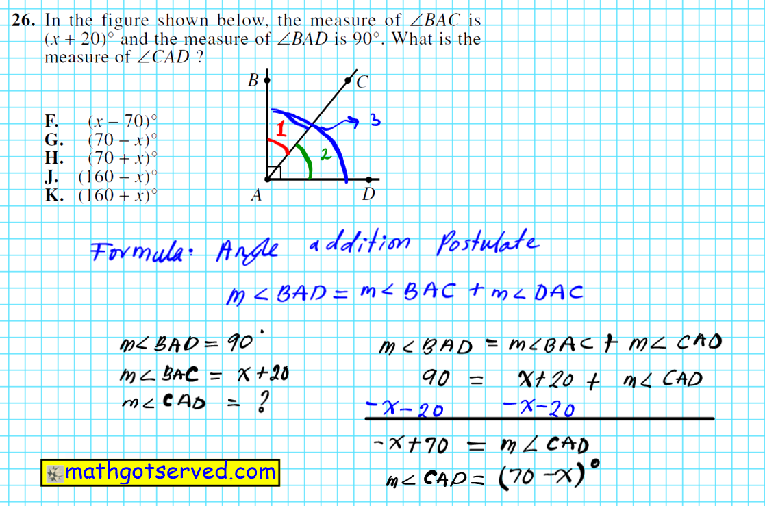 ACT test question 26 complementary angles geometry