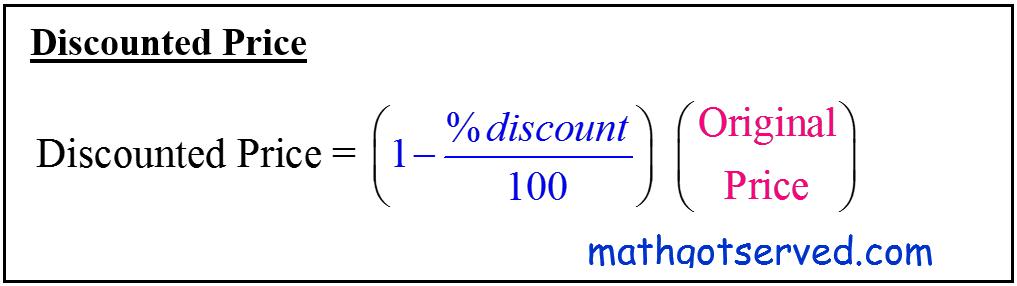 CBEST formula for calculating discount price formula