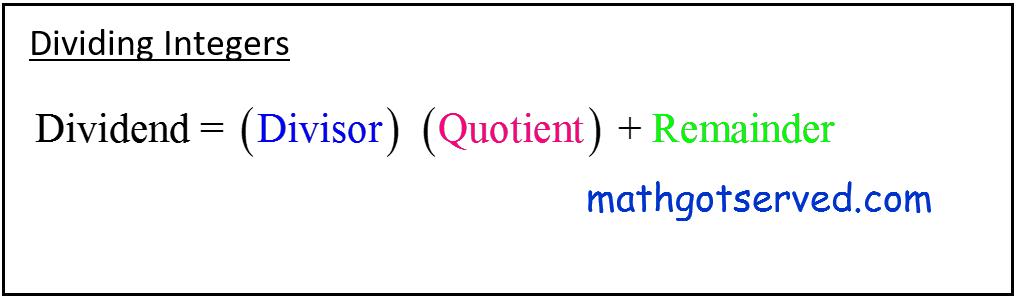 CBEST dividing Integers formula how to calculate quotient divisor dividend long division