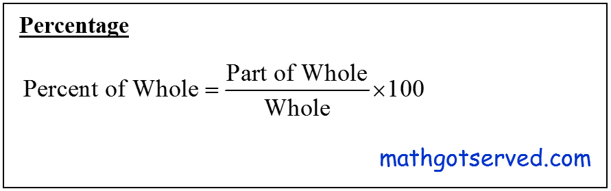 CBEST Percent of Whole Percentage formula part over whole multiplied by 100