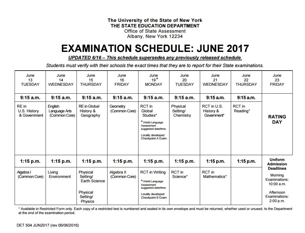 NY Regents examination schedule