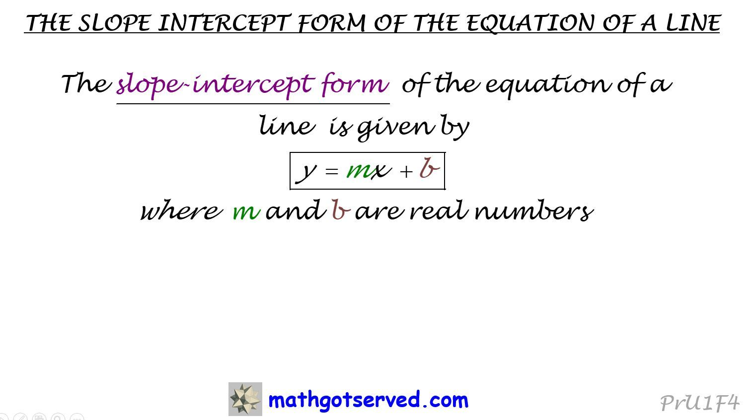 Equation of a line, General form, standard form, vertical line, horizontal line, point-slope, slope intercept form, how to, mathgotserved, precalculus, algebra, calculus, steps, find, change in y, transform, positive slope, negative, vertical, horizontal, plane, y=mx+b, Ax+by=c, Ax+By+C=0, y=k;x=k, absolute value, kuta, worksheets, problems,  solutions, two points, perpendicular, lines, passing through, review, test, regents, cbest, Accuplacer, ACT, SAT, intercepts, inequalities, systems, point of intersection