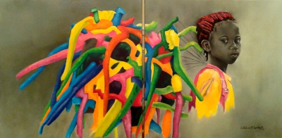 "Holding Hapines - Oil on canvas - diptych 24"" x 48"" - Sold"