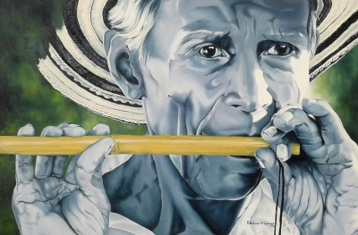 "Flutist - Oil on canvas - 24"" x 36""- Sold"