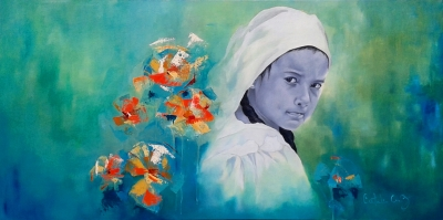 "Flower Girl - Oil on canvas - 30"" x 40"" - Sold"