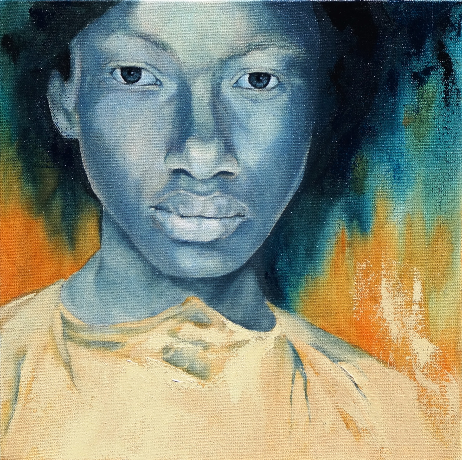 "Blue Angel - Oil on Canvas - 12"" x 12"""