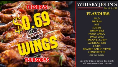 TUESDAY - $0.69 wings - ALL DAY
