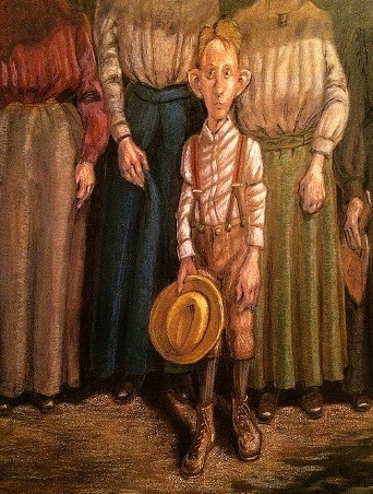 Thomas Marsh Creations artist Los Angeles art artwork color painting illustration #thomas #marsh #painting #illustration #family #boy #child #hat #rural #farm #waiting #picnic #grandpa #face #expression #women #dresses #skirts